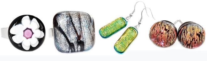 Glazen sieraden - ringen-oorbellen