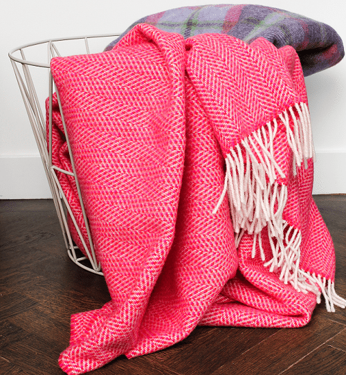 Plaids met visgraat motief van cashmere met merino wol