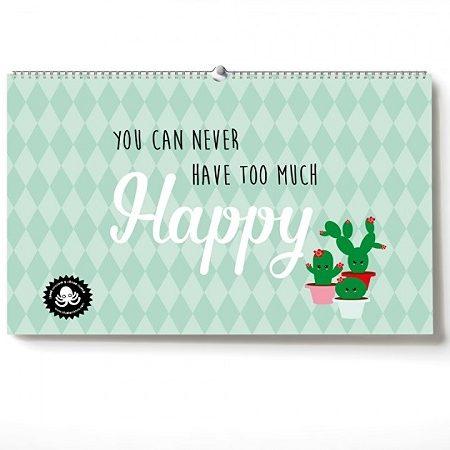 Verjaardagskalender You can never have too much Happy! Deze leuke kalender bestaat uit de pasteltinten roze en mint in combinatie met zwart.