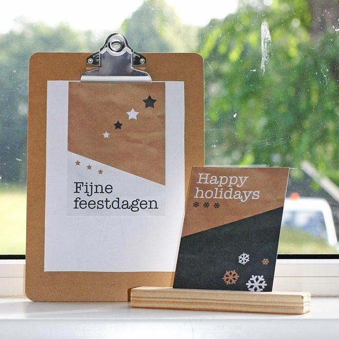 Kerstkaartenset Kraft van Nouk & co 2 Post & Papier