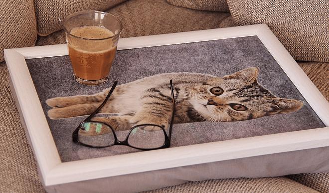 Comfortabel op de bank met een laptopkussen van Kadogalerie