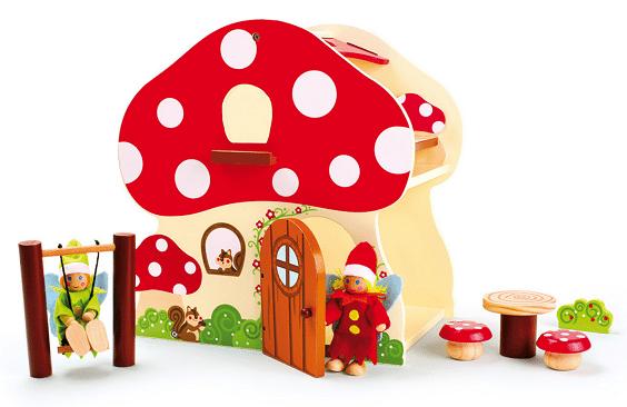 Houtspel - houten poppenhuis-paddenstoel