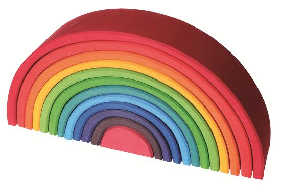 Houtspel - houten stapel regenboog