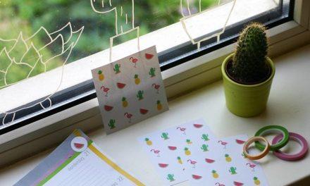 Zomerse papiercollectie met ananassen, cactussen, flamingo's en watermeloenen