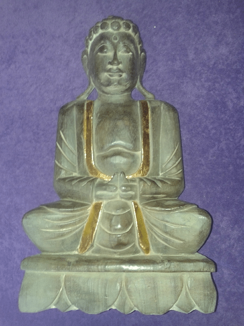 Grote Boeddha houtsnijwerk + goudGrote Boeddha houtsnijwerk + goud