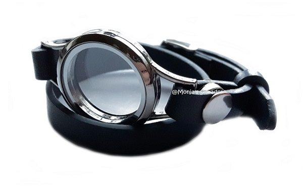 Mi Cadena floating locket incl. zwart leren armband