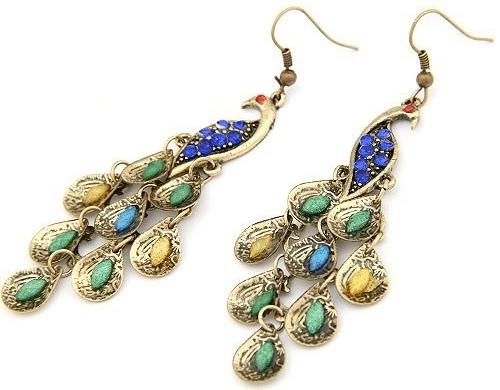 Vintage peacock oorbellen