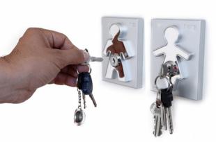 J-me Moderne Aluminium Sleutelhouder - Set man en vrouw