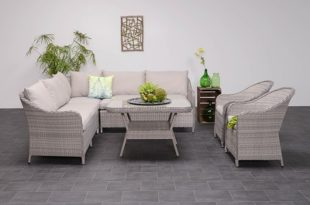 4-delig lounge dining set - grijs - Tuinmeubelland